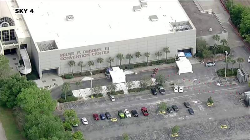 Coronavirus testing continues at Lot J and Prime Osborn Convention Center