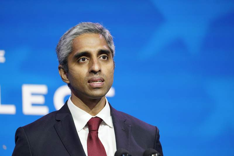 FILE - In this Dec. 8, 2020, file photo Dr. Vivek Murthy, who has been nominated to be U.S. Surgeon General speaks during an event at The Queen theater in Wilmington, Del. The Senate has confirmed Murthy as surgeon generral on March 23, 2021. (AP Photo/Susan Walsh, File)