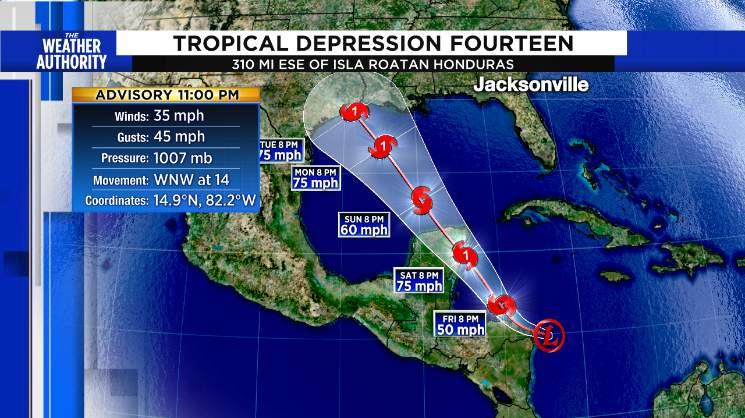 Tropical Depression 14 close to becoming a tropical storm