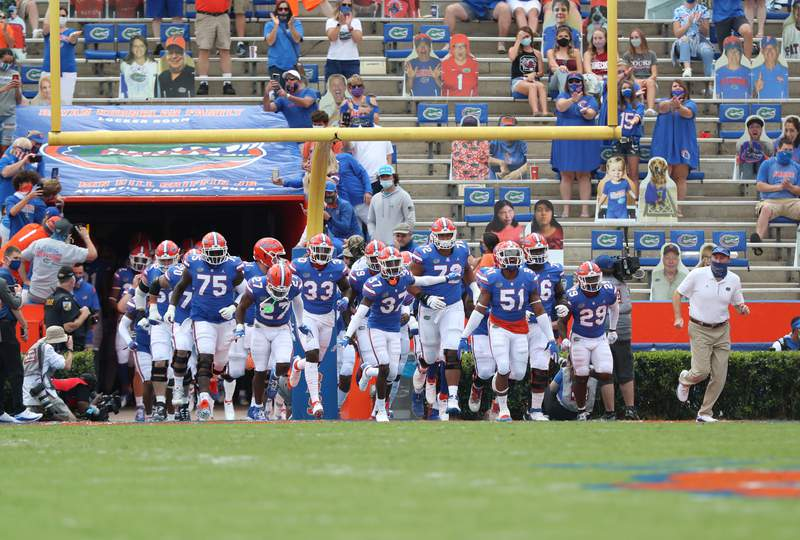 Gators running out of the tunnel against the South Carolina Gamecocks on Saturday, October 3, 2020 at Ben Hill Griffin Stadium in Gainesville, Fla. / UAA Communications photo by Hannah White