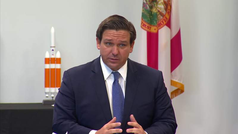 Gov. Ron DeSantis makes an appearance Thursday at Space Florida headquarters in Merritt Island.