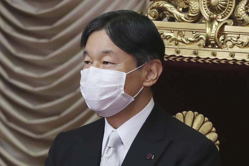 FILE - In this Oct. 26, 2020, file photo, Japan's Emperor Naruhito wearing a face mask to protect against the coronavirus attends to formally open an extraordinary Diet session at the upper house of parliament in Tokyo. Naruhito appears to be extremely worried about the possibility the Tokyo 2020 Olympics and Paralympics could trigger the spread of the coronavirus as feared by many people, head of Japanese imperial palace said Thursday, June 24, 2021 with the games coming up in one month. (AP Photo/Koji Sasahara, File)