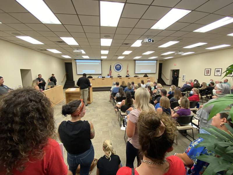 Photo from Nassau County School Board special meeting on Aug. 17, 2021.