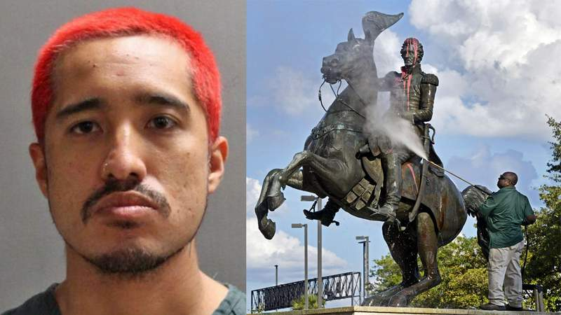 JSO booking photo of Danilo Quilaton, who is accused of vandalizing the statue of Andrew Jackson