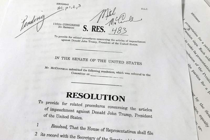 A copy of revised U.S. Senate Resolution 483, which provides procedures concerning the articles of impeachment against President Donald Trump, released Tuesday, Jan. 21, 2020 on Capitol Hill in Washington. Senate Majority Leader Mitch McConnell has abruptly changed his proposed rules for President Donald Trumps impeachment trial after some of his fellow Republican senators objected.  (AP Photo/Wayne Partlow)