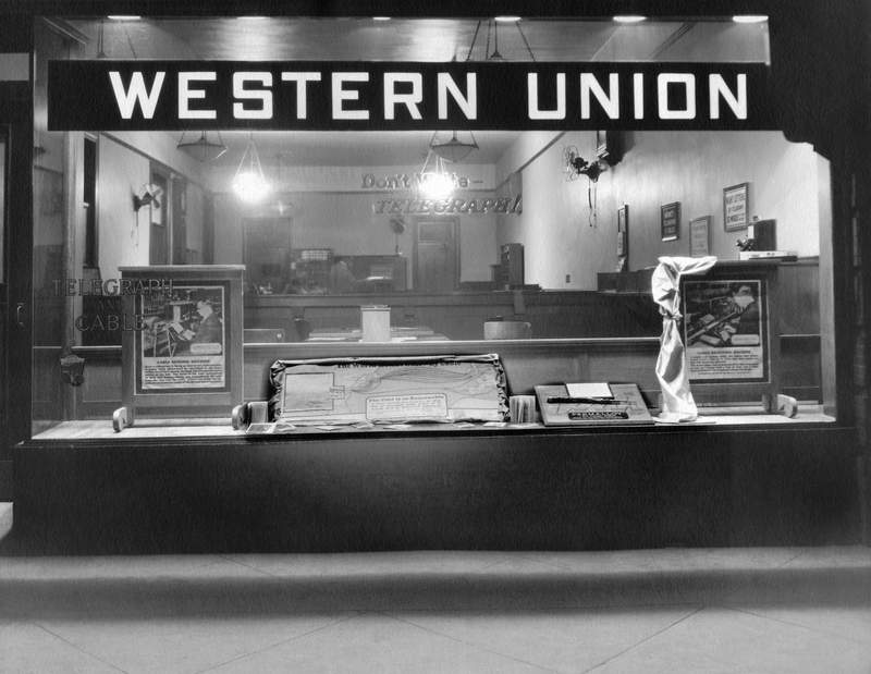 Night time view of a Western Union telegraph office, c. 1933. (Photo by Underwood Archives/Getty Images)