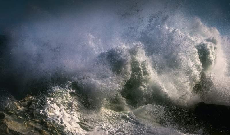 Rough ocean water.