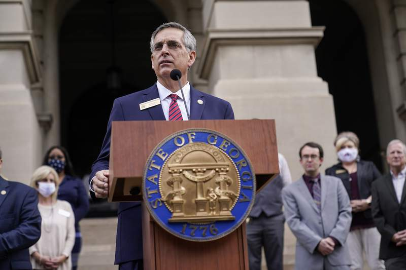 Georgia Secretary of State Brad Raffensperger speaks during a news conference in Atlanta two days after the 2020 presidential election.