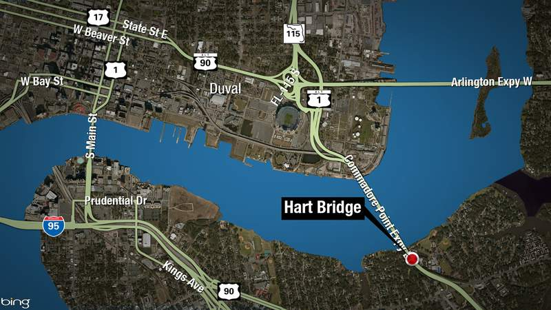 JSO warned drivers both northbound lanes of the Hart Bridge were blocked by a crash Saturday night.
