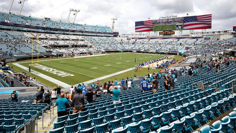 Socially distanced fans stand for the national anthem as they social distance in the 2020 home opener between the Jacksonville Jaguars and the Indianapolis Colts.