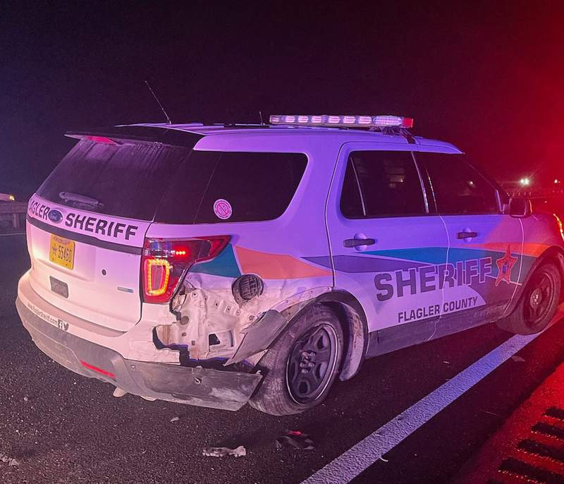 The Flagler County Sheriff's Office said a patrol vehicle was struck on Interstate 95 over the weekend.