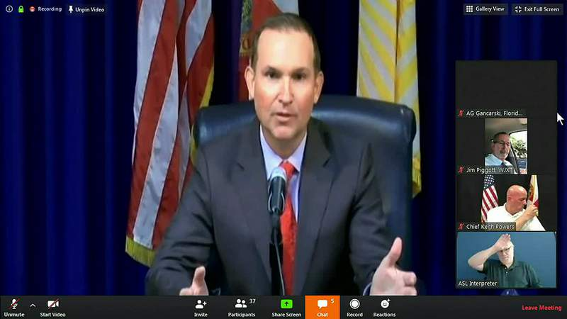 Mayor Lenny Curry holds a news conference Wednesday.