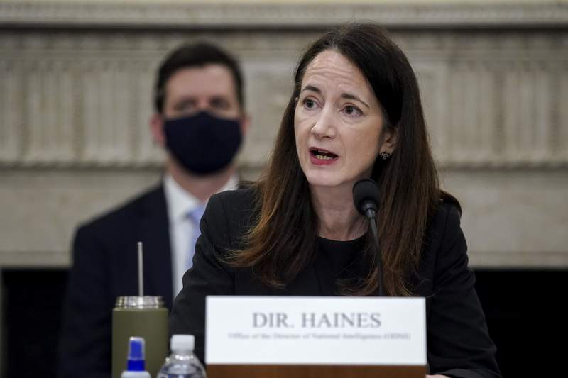 Director Avril Haines of the Office of the Director of National Intelligence (ODNI) speaks during a House Intelligence Committee hearing on Capitol Hill in Washington, Thursday, April 15, 2021. (Al Drago/Pool via AP)