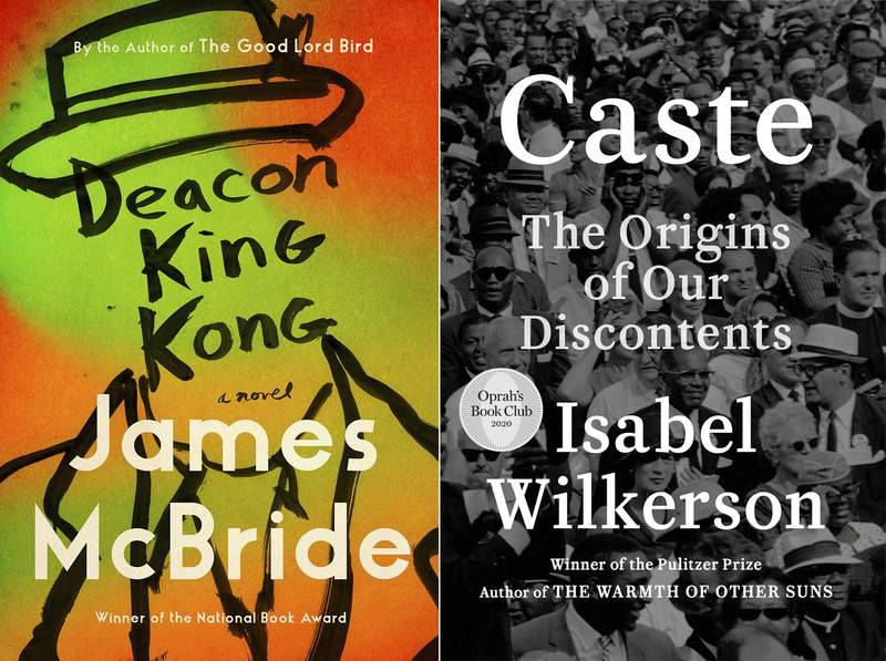 """This combination photo shows cover images for """"Deacon King Kong,"""" a novel by James McBride, left, and """"Caste: The Origins of Our Discontents"""" by Isabel Wilkerson. McBride and Wilkerson are among the nominees for the Kirkus Prize, a $50,000 honor for the best fiction, nonfiction and childrens books.  (Riverhead Books, left, and Random House via AP)"""