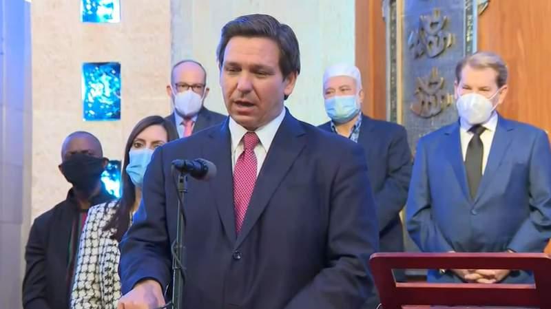 Florida Gov. Ron DeSantis during a press conference at Aventura Turnberry Jewish Center.