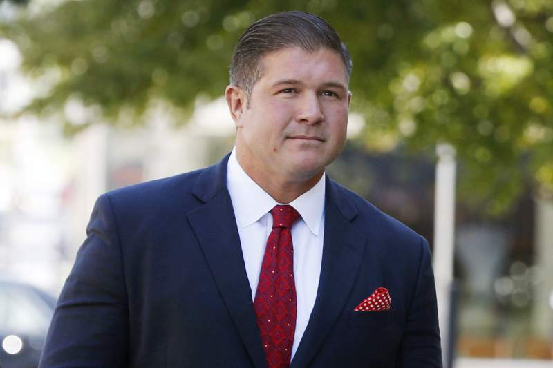 FILE - In this Tuesday, Sept. 20, 2016, file photo, Jesse Benton arrives for his sentencing hearing at the federal courthouse in Des Moines, Iowa. Benton, 43, a Republican political operative pardoned by President Donald Trump after his conviction in a 2012 bribery plot has been charged again with campaign-related crimes, this time involving a 2016 illegal campaign contribution scheme and a Russian national. (AP Photo/David Pitt, File)