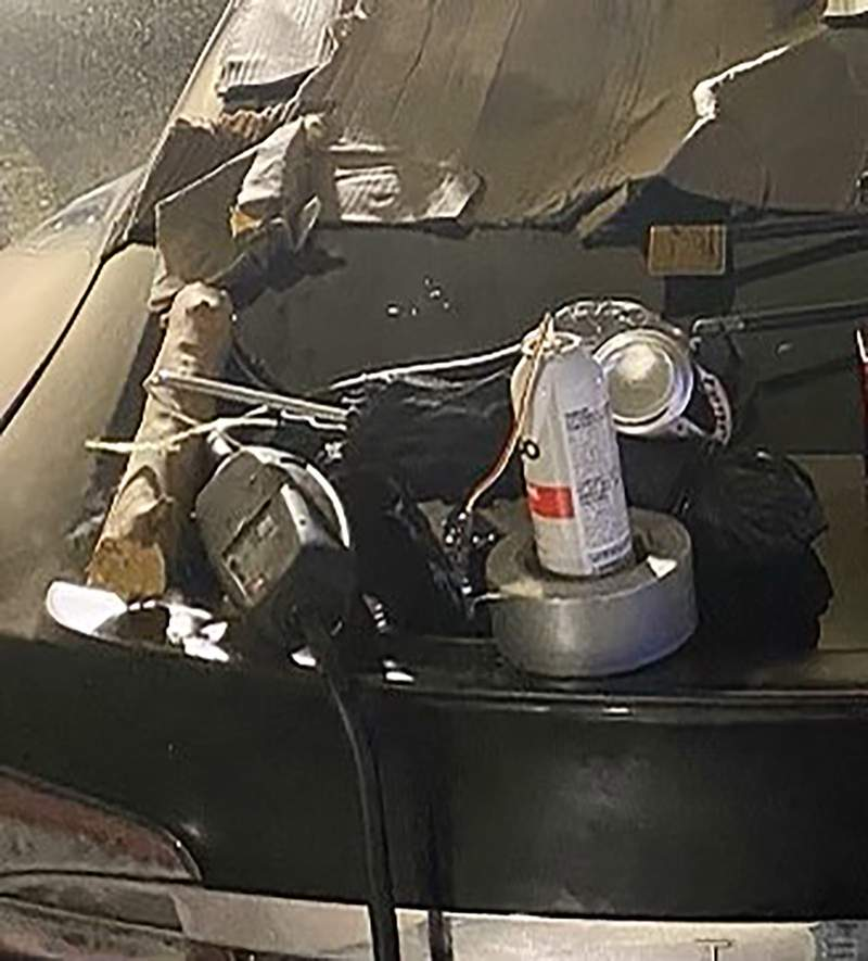 """This photo, provided by the New York City Police Department, Monday, Jan.4, 2021, shows the hoax explosive device at a mall in the Queens borough of New York. A police spokesman said that an initial investigation showed there was no explosive device. """"An investigation is underway into the hoax,"""" NYPD Sergeant Edward Riley said in an emailed statement. (New York City Police Dept. via AP)"""