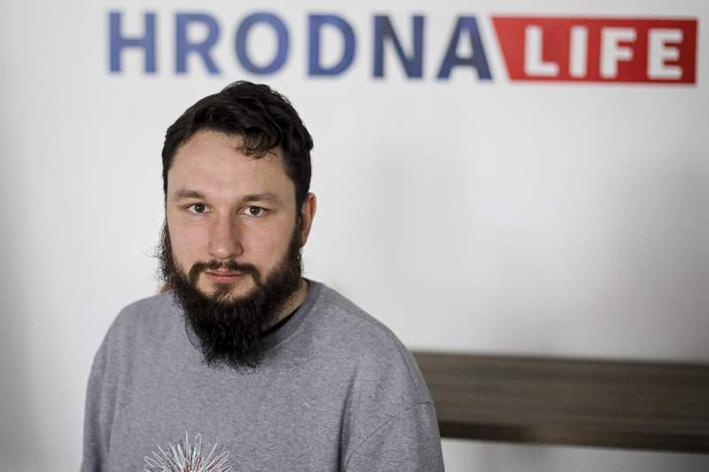 Belarusian journalist, Aliaksei Shotain, editor of Hrodna.life website poses for a photo Grodno, Belarus, Sunday, May 30, 2021. The chief editor of a popular Internet news site in one of Belarus' largest cities has been detained on suspicion of extremism. The arrest Sunday of Hrodna.life editor Aliaksei Shota comes amid a crackdown on independent journalists and opponents of authoritarian President Alexander Lukashenko. (AP Photo)