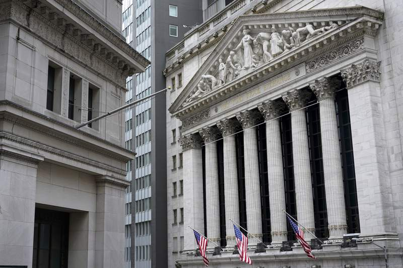 FILE - The New York Stock Exchange is seen in New York, Monday, Nov. 23, 2020.   Stocks are opening higher on Wall Street, Friday, May 28, 2021, keeping major indexes on track to post their first weekly gain in three weeks.   (AP Photo/Seth Wenig, File)