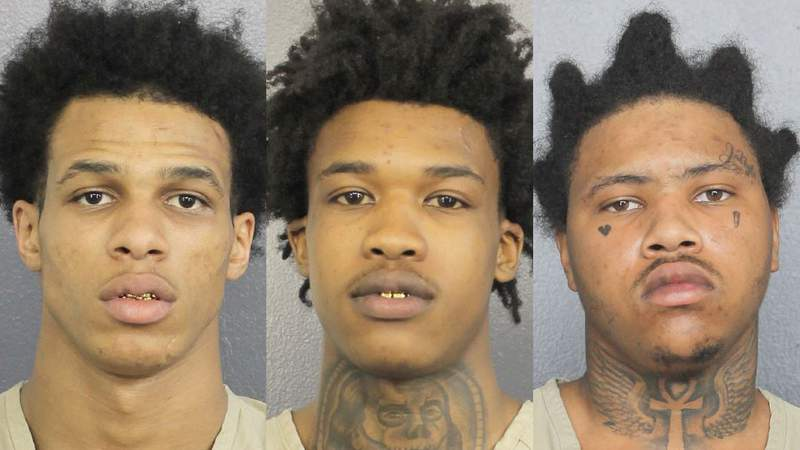 From left, Zion Odain Denvor Hall,  Yrek Williams and Tremaine Raekwon Hill are facing charges in about 30 residential burglaries in South Florida.