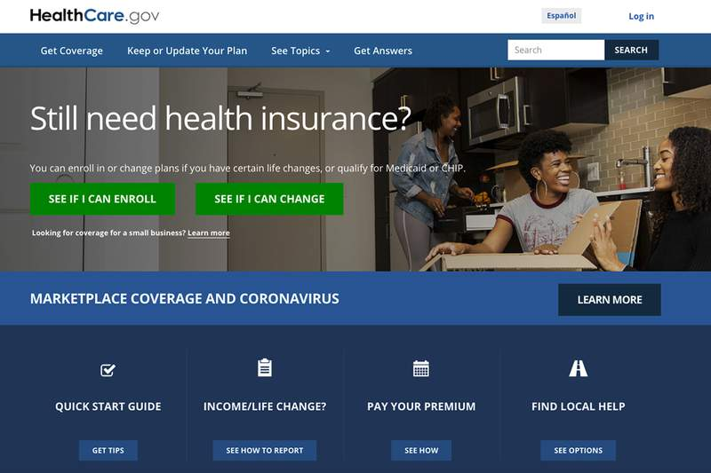 This screen grab from the website shows the main web page for the HealthCare.gov. HealthCare.govs market for subsidized health plans reopens Monday, Feb. 15, 2021,  for a special three-month sign-up window, as the Democratic-led Congress weighs legislation that could cut premiums by double digits for many. (Centers for Medicare and Medicaid Services via AP, File)
