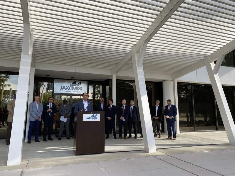 Nymbus CEO Jeffery Kendall makes an announcement in front of Jax Chamber building.