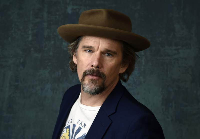 FILE - Ethan Hawke poses for a portrait during the 2020 Winter Television Critics Association Press Tour in Pasadena, Calif., on Jan. 13, 2020. In an audiobook commissioned by the 92nd Street Y in Manhattan and airing online Oct. 19-29 Hawke inhabits the aging Rev. John Ames of Marilynne Robinson's acclaimed novel Gilead. (AP Photo/Chris Pizzello, File)