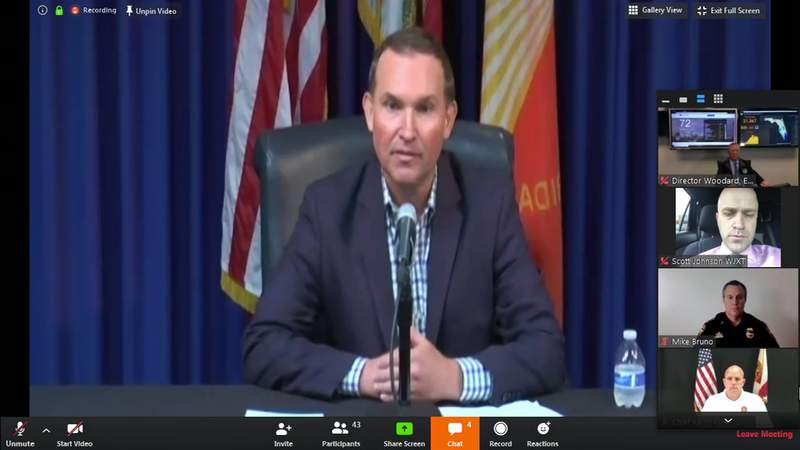 Mayor Lenny Curry speaks during a virtual news conference Tuesday afternoon.