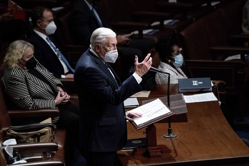 Majority Leader Steny Hoyer, D-Md., speaks in the House Chamber after they reconvened for arguments over the objection of certifying Arizonas Electoral College votes in Novembers election, at the Capitol in Washington, Wednesday, Jan. 6, 2021. (Erin Schaff/The New York Times via AP, Pool)