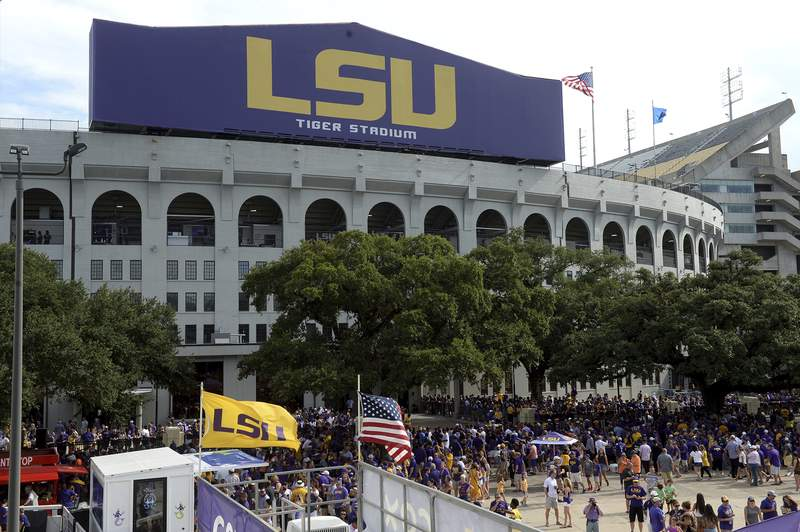 FILE - Tiger Stadium is shown before an NCAA football game between LSU and Northwestern State in Baton Rouge, La., in this Sept. 14, 2019, file photo. (AP Photo/Patrick Dennis, File)