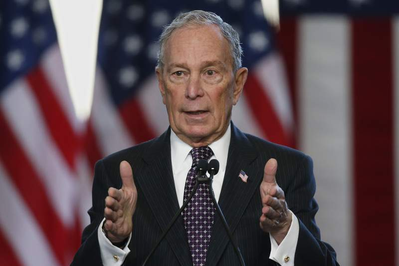 Democratic presidential candidate Michael Bloomberg speaks at the Greenwood Cultural Center in Tulsa, Okla., Sunday, Jan. 19, 2020. (AP Photo/Sue Ogrocki)