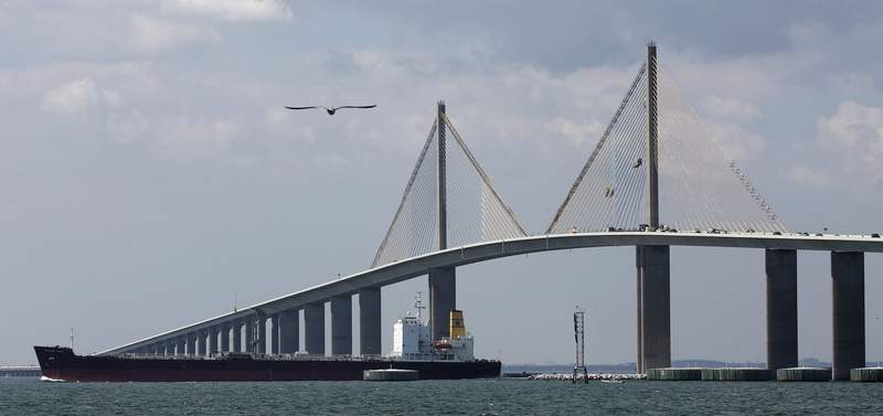 File photo: A fuel tanker makes her way under the Sunshine Skyway Bridge, Wednesday afternoon, April 23, 2008 in St. Petersburg, Fla. Ten people jumped to their death in 2007 from the majestic Florida Gulf Coast landmark. (AP Photo/Chris O'Meara)