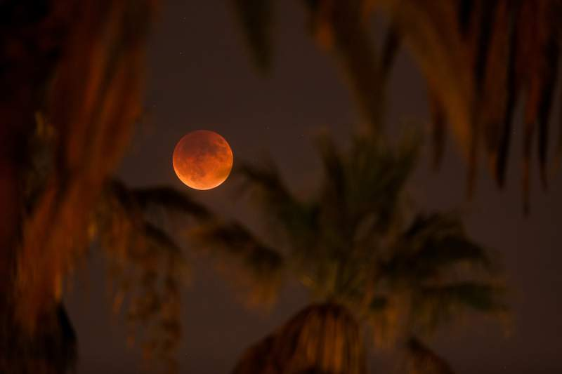 An eclipsed supermoon is shown on Sept. 27, 2015, in Los Angeles, California.