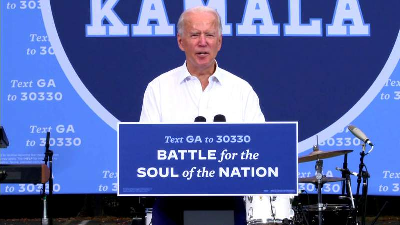 Joe Biden campaigns in Georgia, hoping to flip usually-red state