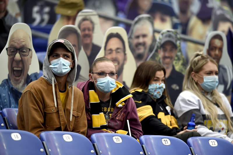 FILE - In this Nov. 1, 2020, file photo, spectators wear face masks to protect against COVID-19 during the first half of an NFL football game between the Baltimore Ravens and the Pittsburgh Steelers, in Baltimore. A new set of rules are coming in just about every sport, almost all with enhanced health and safety in mind. If they work, games could get out of bubbles and return to arenas and stadiums with some fans in attendance sometime soon. Perhaps more importantly, they could also provide some common-sense solutions to virus issues in the real world.(AP Photo/Gail Burton, File)