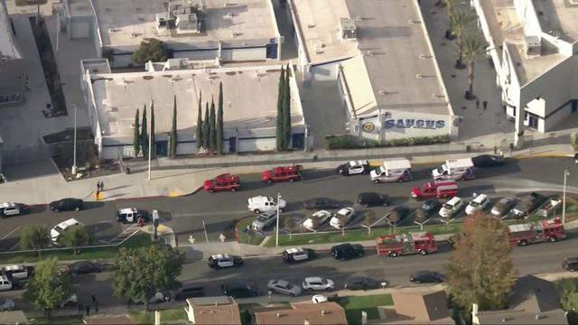 Scene at Saugus High School in Santa Clarita, California during mass shooting on Thursday, Nov. 14, 2019.