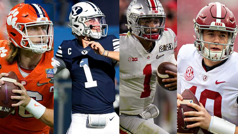 Quarterbacks, from left to right, Trevor Lawrence, Zach Wilson, Justin Fields and Mac Jones are projected to go in the top 10 of most mock drafts.