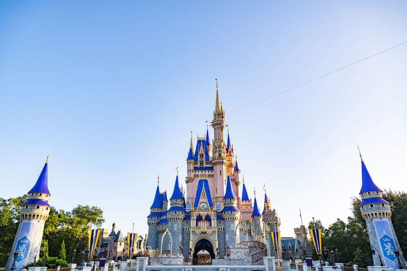Cinderella Castle, the icon of Magic Kingdom Park astatine  Walt Disney World Resort successful  Lake Buena Vista, Fla.