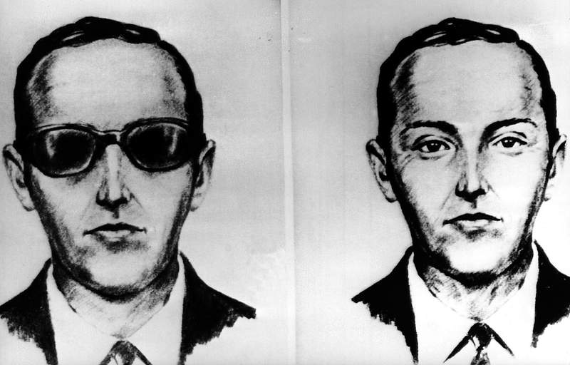 FILE--This undated artist sketch shows the skyjacker known as D.B. Cooper from recollections of the passengers and crew of a Northwest Airlines jet he hijacked between Portland and Seattle on Thanksgiving eve in 1971. Nearly 50 years after skyjacker D.B. Cooper vanished out the back of a Boeing 727 into freezing Northwest rain, wearing a business suit, a parachute and a pack with $200,000 in cash, a crime historian is conducting a dig on the banks of the Columbia River in Vancouver, Washington, in search of evidence. (AP-Photo/File)
