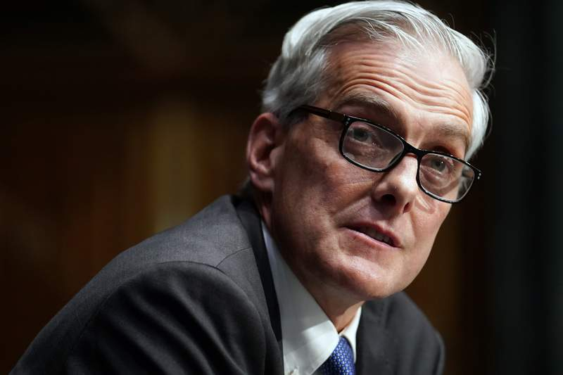 FILE - In this Wednesday, Jan. 27, 2021, file photo, Secretary of Veterans Affairs nominee Denis McDonough speaks during his confirmation hearing before the Senate Committee on Veterans' Affairs on Capitol Hill, in Washington. In an announcement Saturday, June 19, 2021, McDonough said that the Department of Veterans Affairs is moving to offer transgender veterans gender confirmation surgery. (Sarah Silbiger/Pool Photo via AP, File)