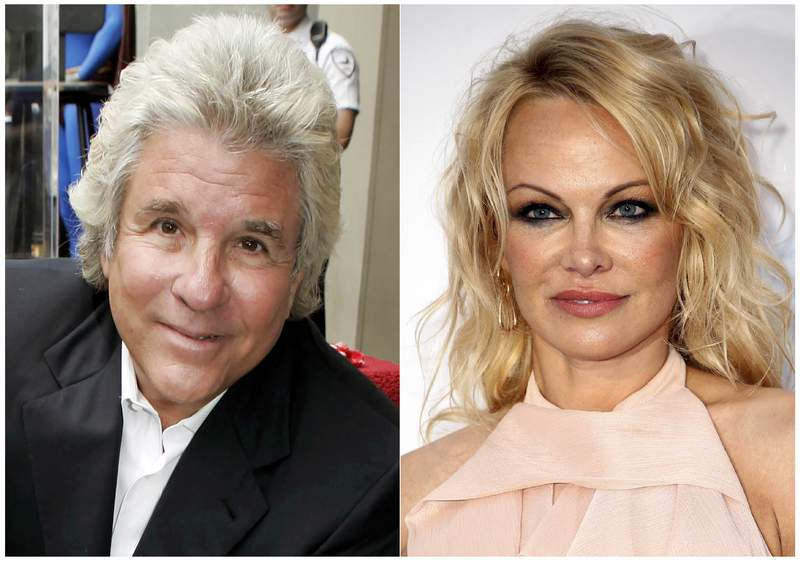 This combination photo shows Hollywood producer Jon Peters at a ceremony honoring him with a star on the Hollywood Walk of Fame in Los Angeles on May 1, 2007, left, and model-actress Pamela Anderson at the amfAR, Cinema Against AIDS, benefit  in Cap d'Antibes, southern France, on May 23, 2019. A representative for Anderson said the couple married in a private ceremony in Malibu, California on Monday, Jan.20, 2020. It's the fifth marriage for both the 52-year-old model-actress and the 74-year-old film producer, who first dated more than 30 years ago and recently reunited. (AP Photo)