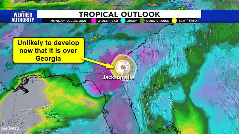 Tropical Low no over Coastal Georgia