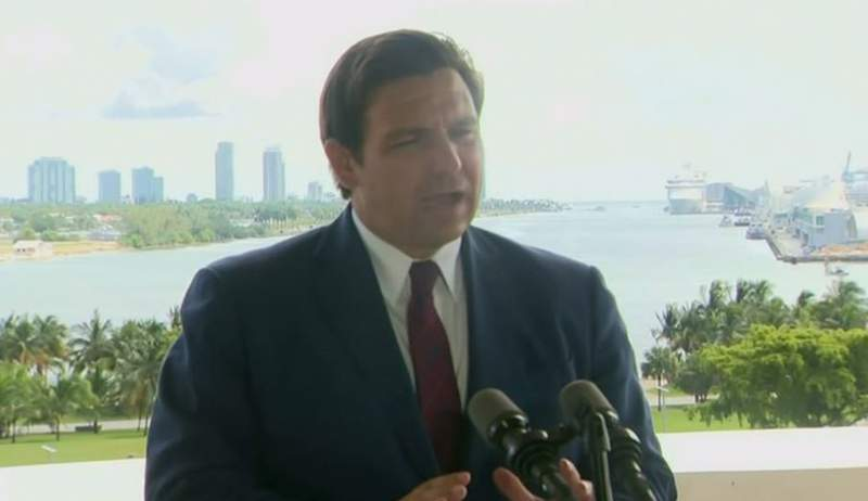 Gov. Ron DeSantis during a press conference in Miami.
