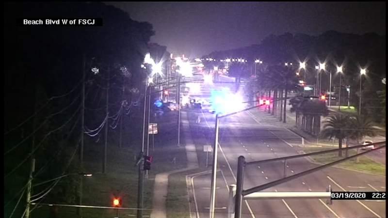 A pedestrian was killed in a crash on Beach Boulevard Thursday night, according to FHP.
