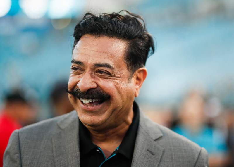 Owner Shad Khan of the Jacksonville Jaguars looks on before the start of a game against the Tennessee Titans at TIAA Bank Field on September 19, 2019 in Jacksonville, Florida. (Photo by James Gilbert/Getty Images)