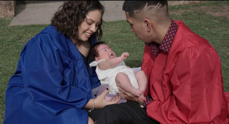 Delicia Garza, at left, with her boyfriend and daughter.
