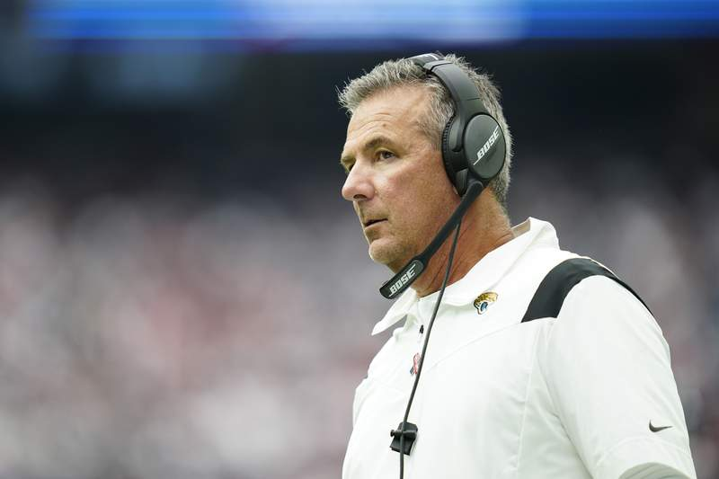 Jacksonville Jaguars head coach Urban Meyer looks on from the sidelines during an NFL football game against the Houston Texans, Sunday, Sept. 12, 2021, in Houston. (AP Photo/Matt Patterson)