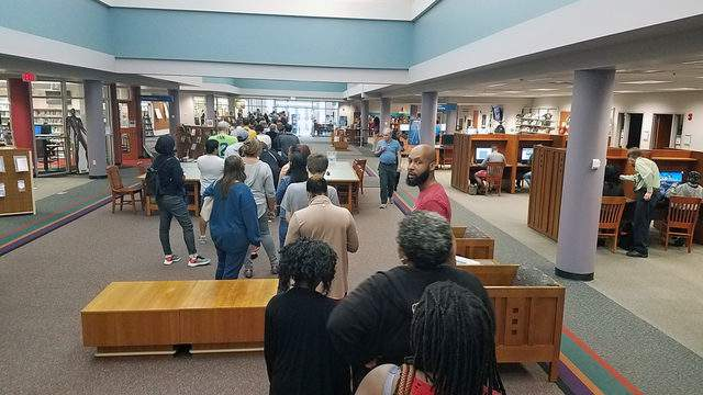 Long lines at Southeast Main Library have voters waiting 45 minutes to cast ballots Sunday