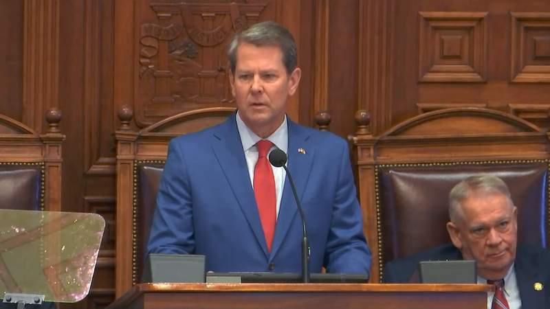 Gov. Brian Kemp delivers his state-of-the-state address to a joint session of the Georgia Legislature.