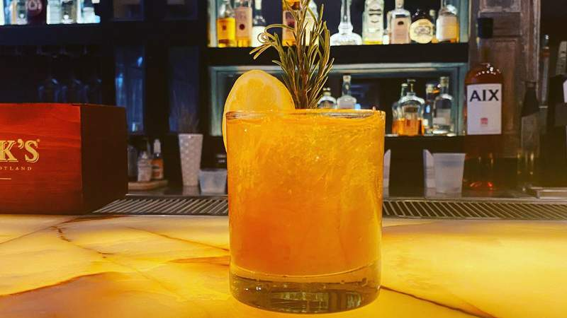 A handcrafted cocktail at Bistro Aix